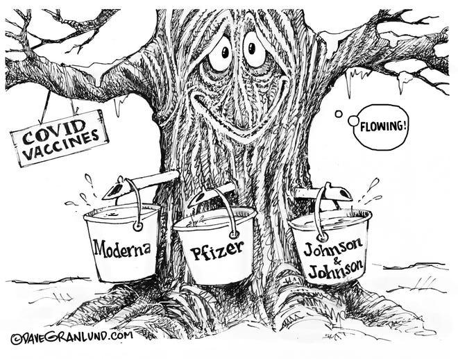 flowing vaccines cartoon