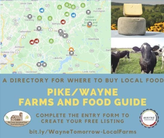 The Pike/Wayne Farms and Food Guide is a directory allowing consumers to find and purchase local food.