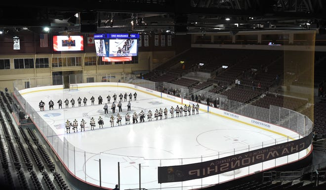 Robert Morris and RIT get ready to play in the quarterfinals of the College Hockey America tournament Thursday at Erie Insurance Arena.
