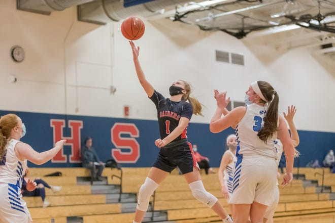 Hornell's Tayghan Doorley flies to the rim during Wednesday's win over Haverling in Hornell.