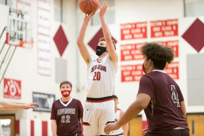 Canisteo-Greenwood senior Ayden Burd (20) puts up a shot in Wednesday night's home win over Addison.