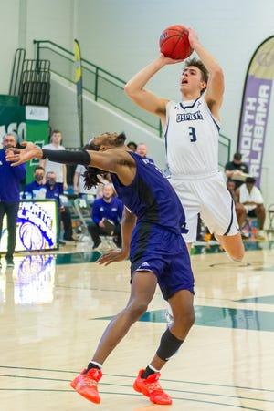 Carter Hendricksen (3) is one of nine returning letter-winners for the University of North Florida men's basketball team.