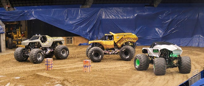 Monster Trucks take a lap during practice for their 2019 shows  in Jacksonville.