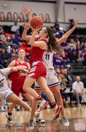 Glen Rose's Hazel Hawkins takes the ball to the basket during action in the regional semifinal against Canyon.
