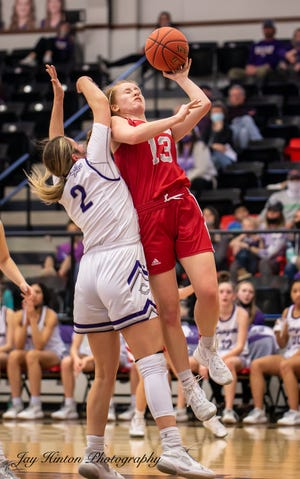 Glen Rose's Abby Stephenson (13) goes up for a shot in the regional semifinal against Canyon on Saturday at Colorado City High School.
