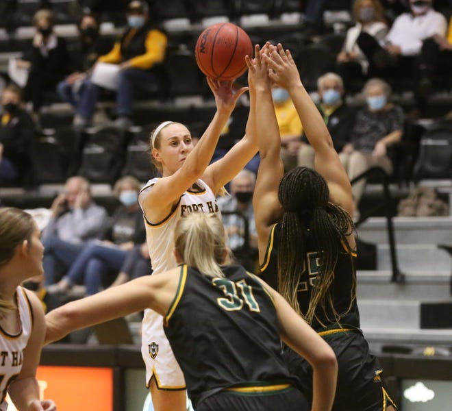 Fort Hays State's Whitney Randall shoots a jumper over Missouri Southern on Wednesday at Gross Memorial Coliseum. Randall went over 1,000 points for her career in the win.
