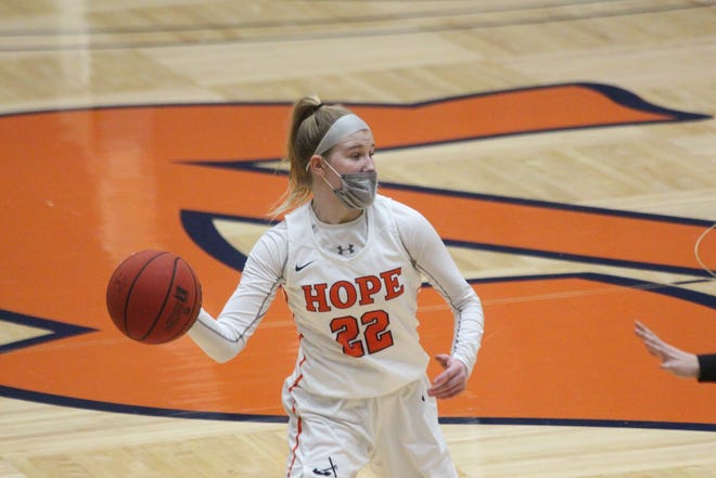 The Hope College women's basketball team defeated Calvin University in the MIAA semifinals on Wednesday, March 3, 2021