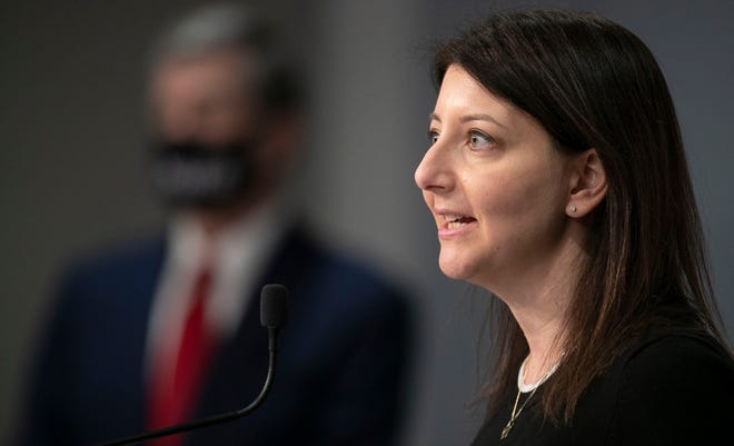 Dr. Mandy Cohen, secretary of the N.C. Department of Health and Human Services, fields questions during a press briefing March 2 at the Emergency Operations Center in Raleigh. (Robert Willett/The News & Observer via AP)