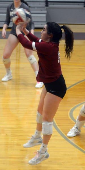 Bethel sophomore Katie Wilhelm plays the ball during a dual meet Wednesday against Kansas Wesleyan.