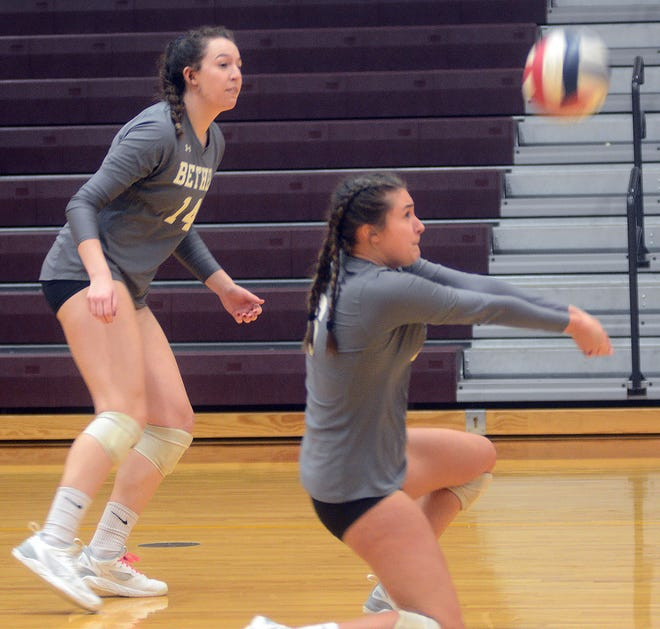 Bethel sophomore J'Lynne Stolsworth digs a ball during play Wednesday against Kansas Wesleyan. Bethel finished the day 0-2.