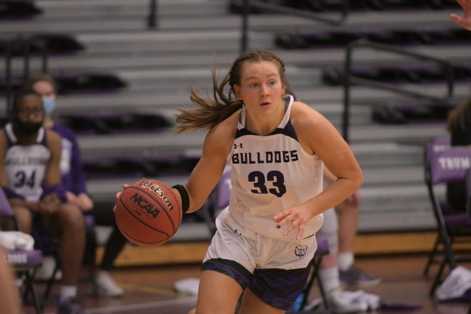 Truman junior guard Katey Klucking drives to the paint Wednesday against Maryville.