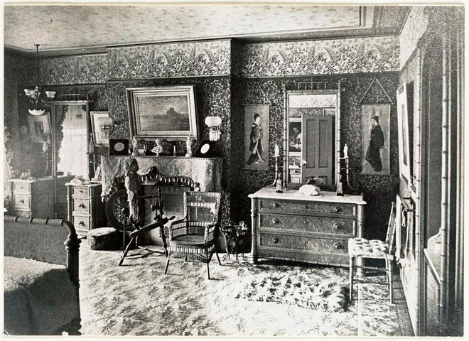 This is what a bedroom in 44 Union Park in the South End looked like in 1885. It looks a lot different today. Learn more from Digital Commonwealth at www.digitalcommonwealth.org.