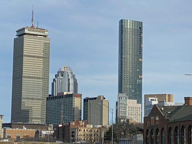 Here is the Back Bay skyline as seen from outside of Fenway Park.