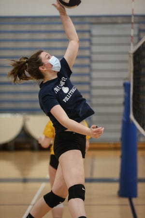 Tri-County senior captain Camden Schweitzer spikes the ball during volleyball practice at Tri-County in Franklin on March 3. Schweitzer led her team to a 3-1 win over Norfolk Aggie on Wednesday.