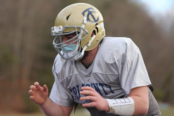 Tri-County junior Anthony Martello runs some drills during football practice at Tri-County in Franklin on Mar. 03, 2021.