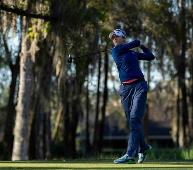 Nelly Korda watches her tee shot during the first round for the 2021 LPGA Drive On Championship presented by Volvik at Golden Ocala Golf and Equestrian Club on Thursday. Korda shot a 67 Thursday, tied with two other golfers, Austin Ernst and Jennifer Kupcho after the morning round.