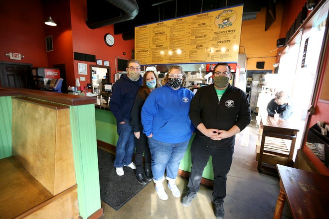 From left, Marco, Tammy, Jami and Jesse Scardina stand inside Loco Coco's Tacos on Wednesday afternoon in Kittery. Jami, a general manager at the restaurant since 2013, recently purchased the restaurant from its longtime owners and founders Luis and Ramona Valdez.