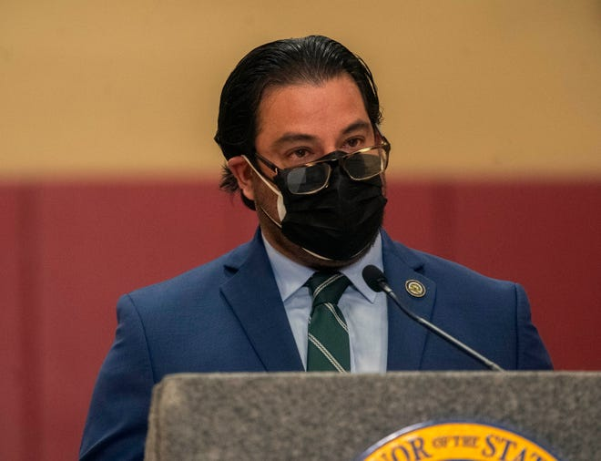 Assemblyman Carlos Villapudua speaks at a news conference held March 4 by Gov. Gavin Newsom at the Stribley Park Community Center in Stockton.