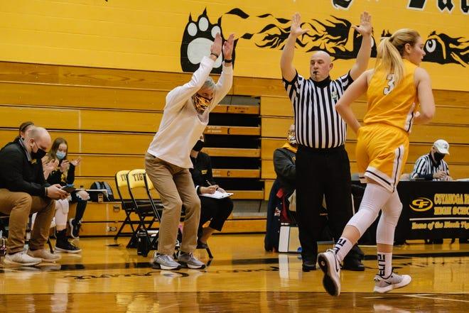 Garfield's head coach Aaron Gilbert gesticulates during Wednesday's regional semifinal game against Waynedale.