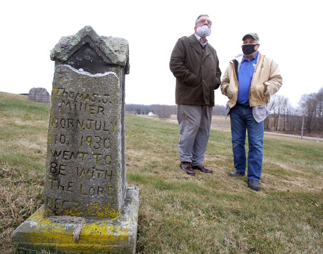"""Brewster Mayor Chuck Hawk (left) and longtime Welty Cemetery Association member Marion """"Buzz"""" Belloni discuss the upcoming transfer of the historic graveyard to the village. Hawk said the procedure is expected to become final in late March or early April."""
