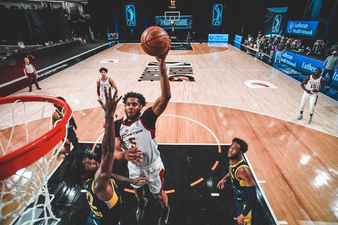 The Charge's Marques Bolden puts up a shot during an NBA G League game against the Fort Wayne Mad Ants on March 4, 2021 at AdventHealth Arena in Orlando, Florida.