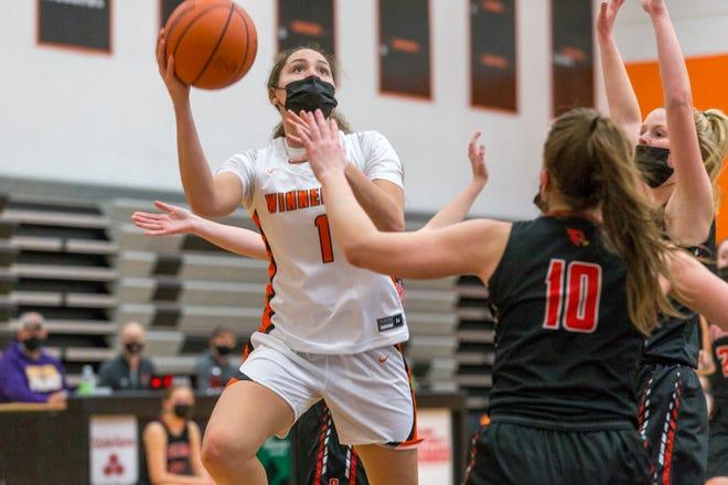 Winnebago's Miyah Brown looks for the hoop against Stillman Valley in the second quarter of their game at Winnebago High School on Wednesday, March 3, 2021, in Winnebago.