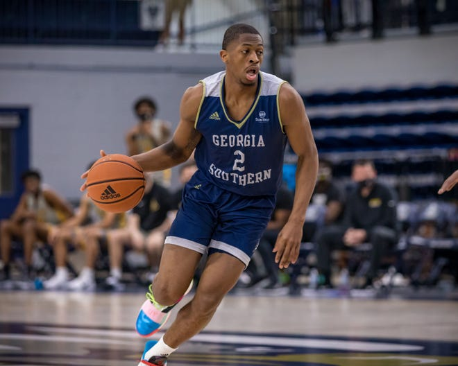 Georgia Southern's Elijah McCadden plays against Appalachian State on Feb. 27 at Hanner Fieldhouse in Statesboro.