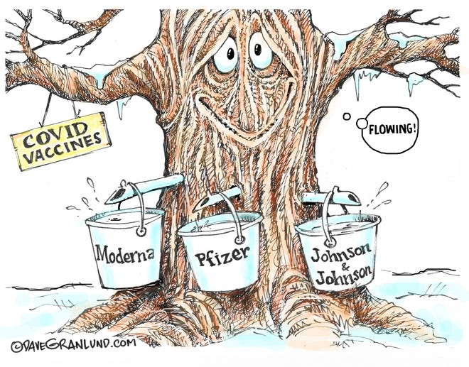 Granlund cartoon: Vaccines flowing Dave Granlund cartoon on the COVID-19 vaccines.