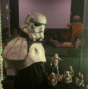 """A small portion of Steven Creech's collection of """"Star Wars"""" and horror movie items."""