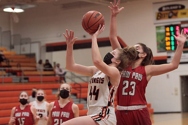 Juliette Schroeder glides in for a layup attempt against Paw Paw on Wednesday evening.