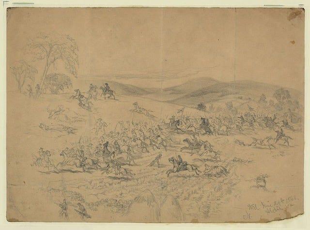 Illustration of the fighting at Aldie, Va.