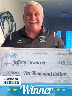 Jeff Clendenin named NC School Hero by the North CarolinaEducation Lottery.