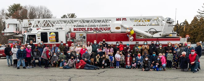 A group of about 70 family and friends of George Andrade, Sr. gathered at Trucchi's Plaza on Sunday, Feb. 27 to organize a drive-by parade to mark Andrade's 91st birthday. Andrade has lived in Middleboro since 1959, with his late wife Vicincia Andrade until she passed away in October of 2020. Andrade served in the Army during the Korean War and retired in 1992 after a 55-year career as a construction worker with the Local 138. Even the Middleboro Fire Dept. got in on the fun, sending an engine to join in the celebration.