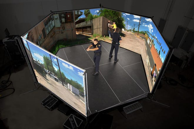 Craven Community College has collaborated with the City of New Bern to provide local law enforcement agencies with a new Law Enforcement Simulator Training program, which will utilize a state-of-the-art training simulator that uses real-life scenarios. [CONTRIBUTED PHOTO]
