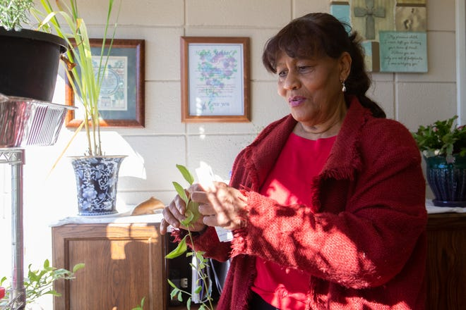 Erma Forbes, founder of The Gil Carter Initiative, shows off the mint plant inside her office Tuesday afternoon at the nonprofit's headquarters, 2620 S.E. 23rd St. Gardening is one of the skills Forbes tries to pass along to some of the youth who participate in the Gil Carter Initiative's programs.