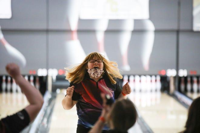 Seaman's Makenzie Millard celebrates a strike at Thursday's Class 5A State Bowling Tournament at Wichita's Northrock Lanes.