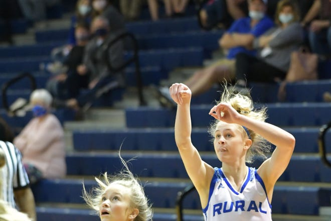 Washburn Rural's Zoe Canfield torched Manhattan for 17 points, hitting five 3-pointers, as the Junior Blues won Wednesday's Class 6A sub-state semifinal 50-36.