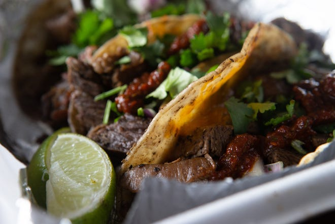 Street tacos from Flavor Wagon come in either steak, chicken or pork or shrimp for $13 pre-tax. It includes cilantro, red onion, pepper lime crema, fire roasted salsa, chipotle salsa, limes and a drink.