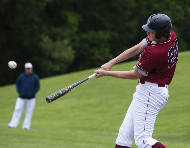 Westborough's Jack Choate smashes a homer during a 2019 game against Nashoba.