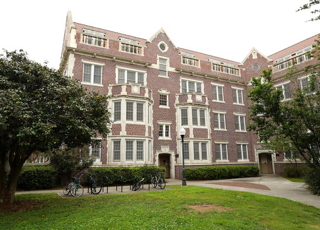 """Sledd Hall, pictured, along with Fletcher and Thomas halls link together on the University of Florida campus for form a large """"UF."""" [Brad McClenny/The Gainesville Sun/File]"""