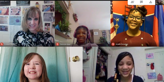 This screenshot shows, from left, Assistant Principal of Pakanasink Elementary School Colleen Delles, and fifth-graders Damola Ajayi, Arielle Donatien, Giuliana Vansickle and Madison Archible. They all participated in a virtual roundtable discussion about diversity and identity with a program by the Anti-Defamation League and Chelsea Football Club.