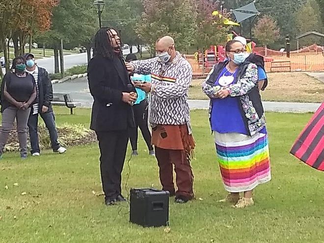 Kani Adon X receives a blessing from Jason Crazy Bear Keck and his wife Crystal Cavalier-Keck during a celebration on Indigenous People's Day on Oct. 11, 2020.