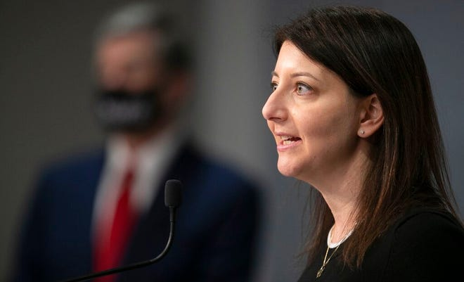 Dr. Mandy Cohen, Secretary of the North Carolina Department of Health and Human Services, fields questions during a press briefing on Tuesday, March 2, 2021, at the Emergency Operations Center in Raleigh, N.C. (Robert Willett/The News & Observer via AP)