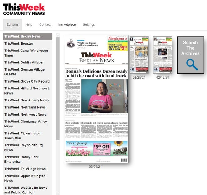ThisWeek e-edition main page