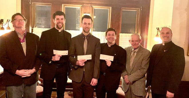 Dedham Knights of Columbus Council No. 234 recently gave four seminarians checks of $500 each to assist them in their studies.