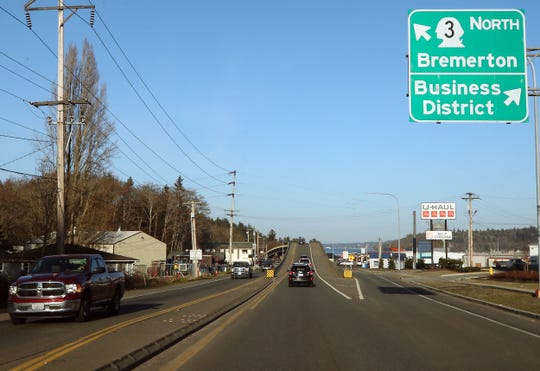 Cars travel along Highway 3 in Gorst on Wednesday, March 3, 2021.