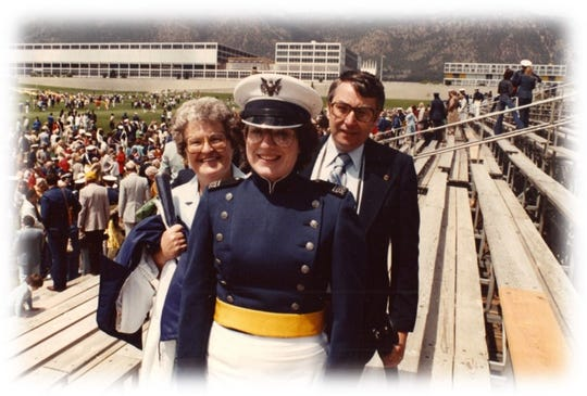 Jane and Norris Gronert attended the U.S. Air Force Academy graduation of their youngest daughter, Jan Rosko, (center) June 2, 1982.