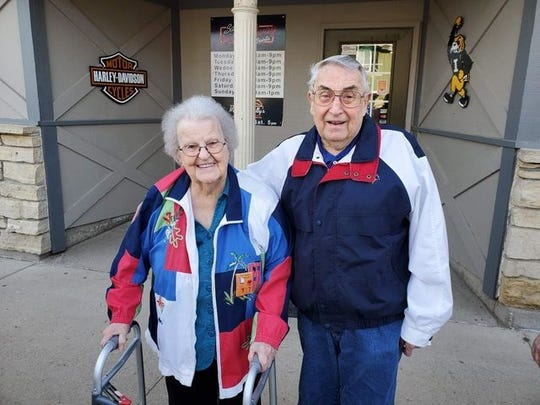 Jane and Norris Gronert after a family meal for Jane's birthday on May 3, 2019.