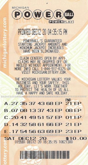 Jacob Filiatreau, of Lowell, matched the five white balls — 17-54-56-63-69 — in the Dec. 12, 2020, Powerball drawing.