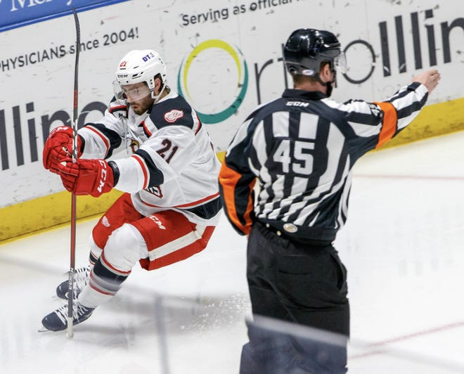Livonia's Max Humitz celebrates a goal in the Griffins' 9-4 win over the IceHogs on Wednesday in Rockford, Ill.